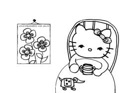 Hello-Kitty-kleurplaat-met-schilderijte-met-drie-bloemen