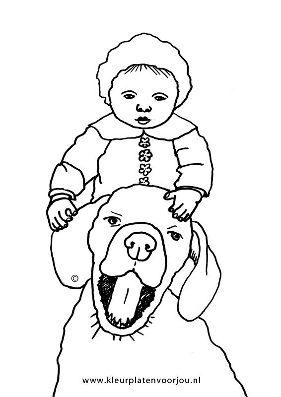 Zomer Kleurplaat Volwassenen Baby Met Hond Kleurplaten Voor Jou