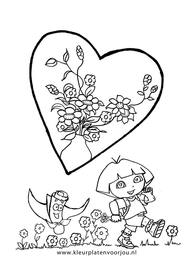 Www Verjaardag Kleurplaaten Nl Dora Bloemen Hart Kleurplaten Voor Jou
