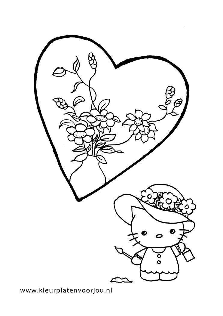 Kleurplaten Hello Kitty Met Hartjes.Hello Kitty Heeft Een Bloemen Hart Kleurplaten Voor Jou