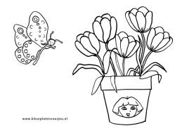 Kleurplaten Vaas Met Bloemen.Kleurplaat Vaas Bloemen Archidev