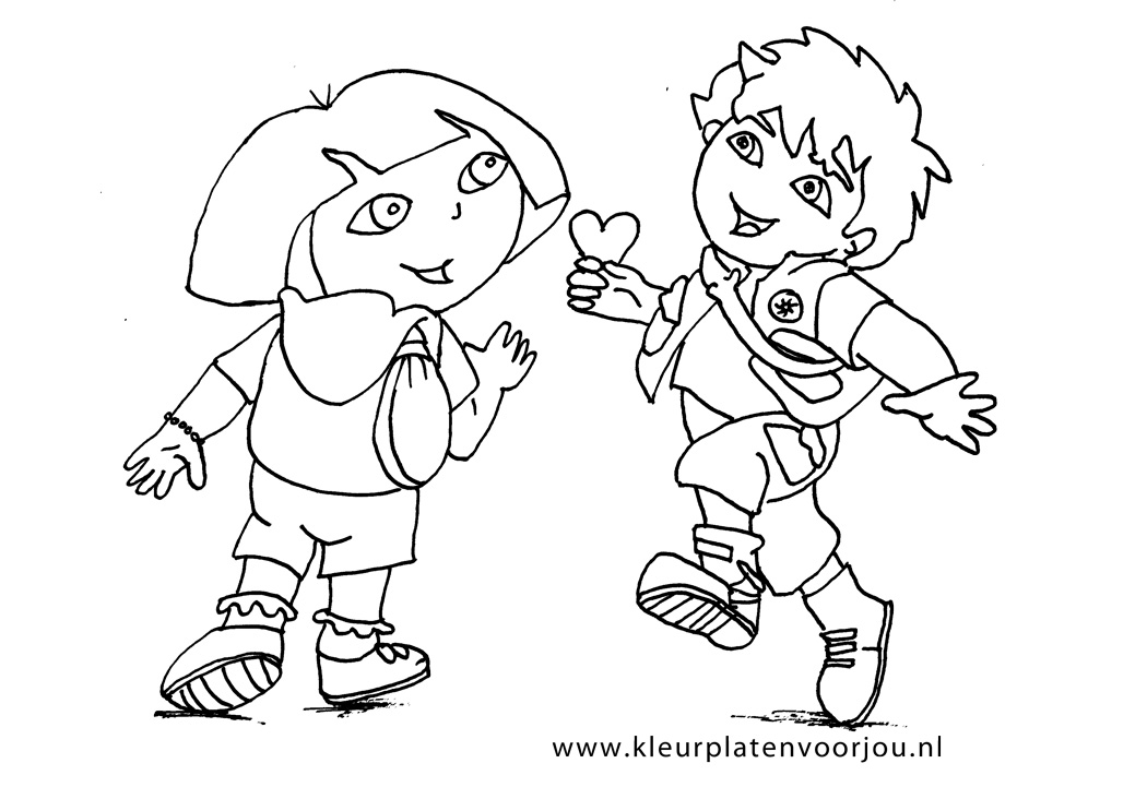 Dora Prinsessen Kleurplaten.Dora Krijgt Een Hartje Van Diego Kleurplaten Voor Jou