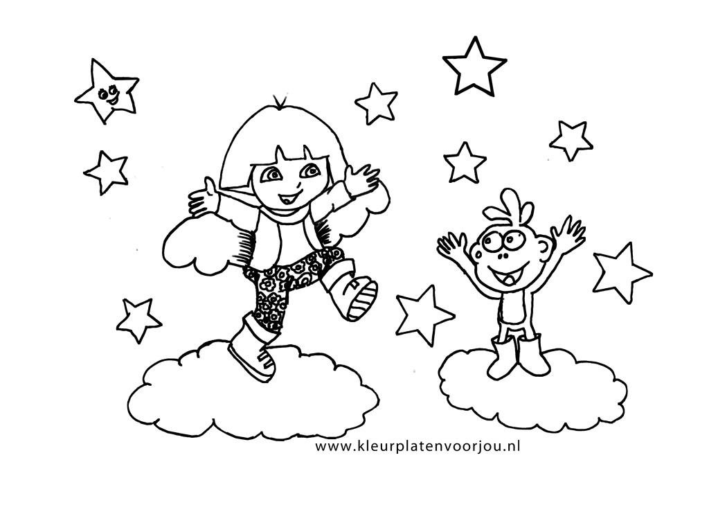 Dora Prinsessen Kleurplaten.Dora Danst Met Boets Kleurplaten Voor Jou