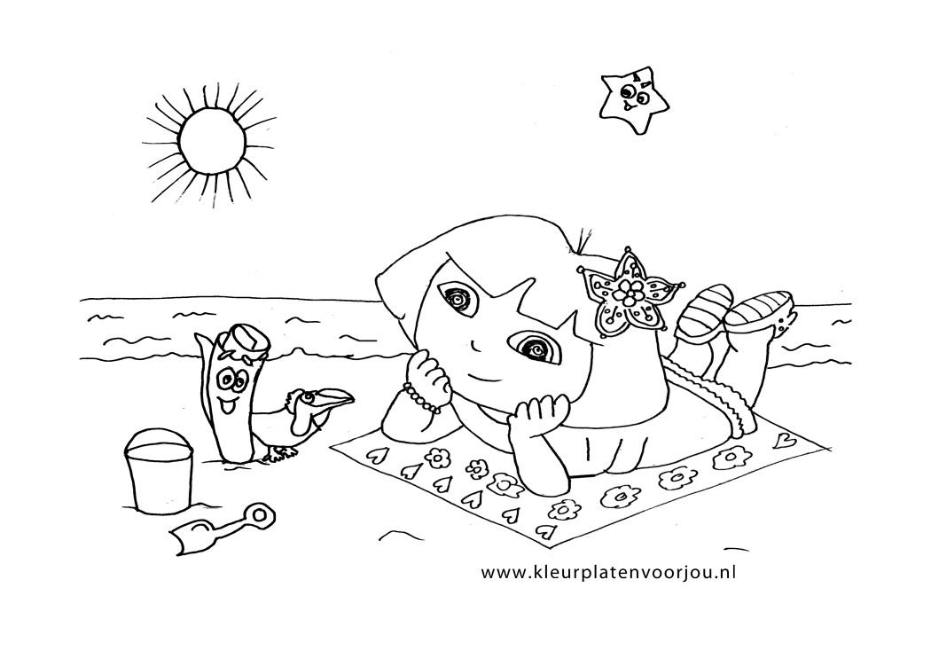 Afbeelding Pasen Kleurplaat Dora Op Het Strand Kleurplaten Voor Jou