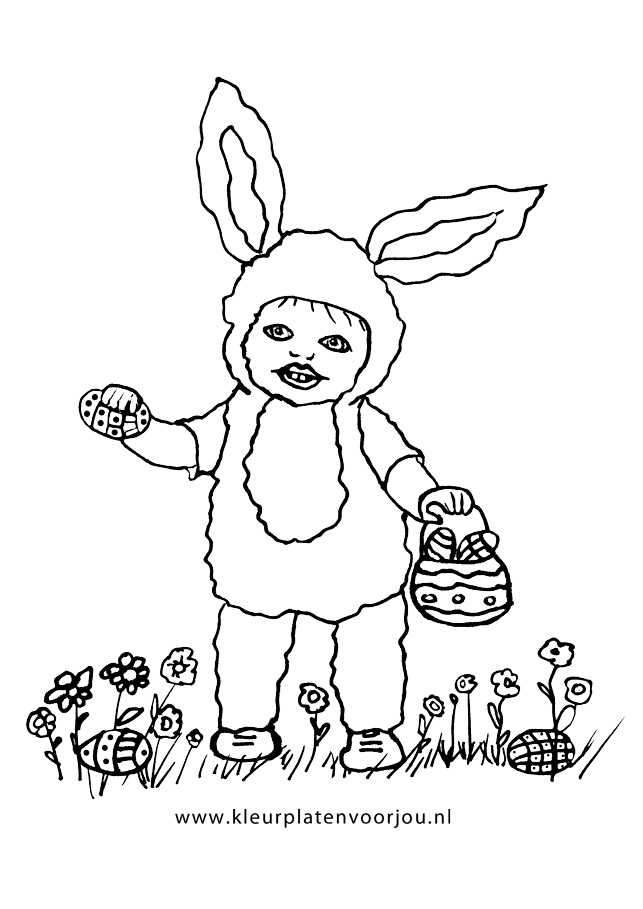 Kind Verkleed Als Paashaas Kleurplaten Voor Jou