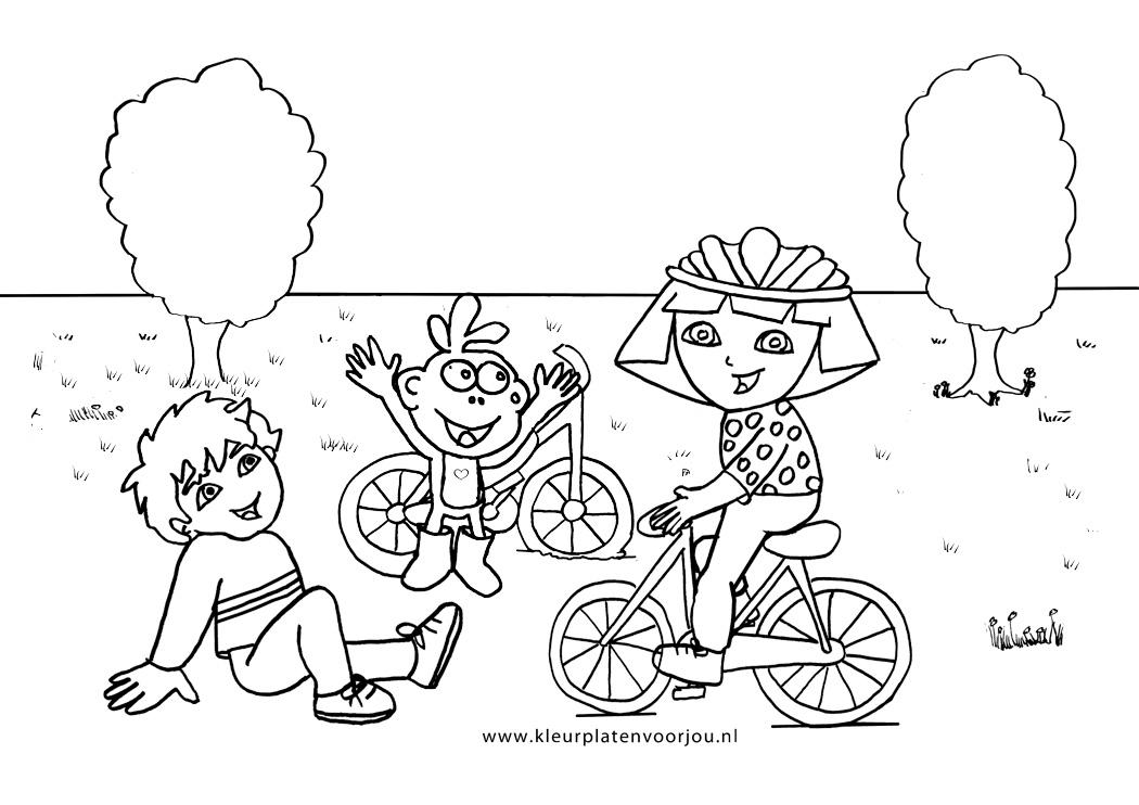 Dora Prinsessen Kleurplaten.Dora Op De Fiets Kleurplaten Voor Jou