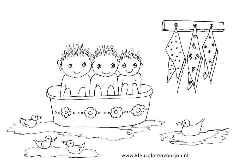 Kleurplaat Baby Dieren Kinderen In Bad Kleurplaten Voor Jou