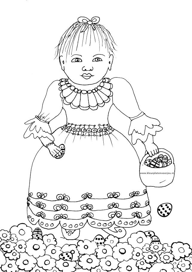 Kleurplaat Konijn Verjaardag Meisje Met Paaseieren Kleurplaten Voor Jou