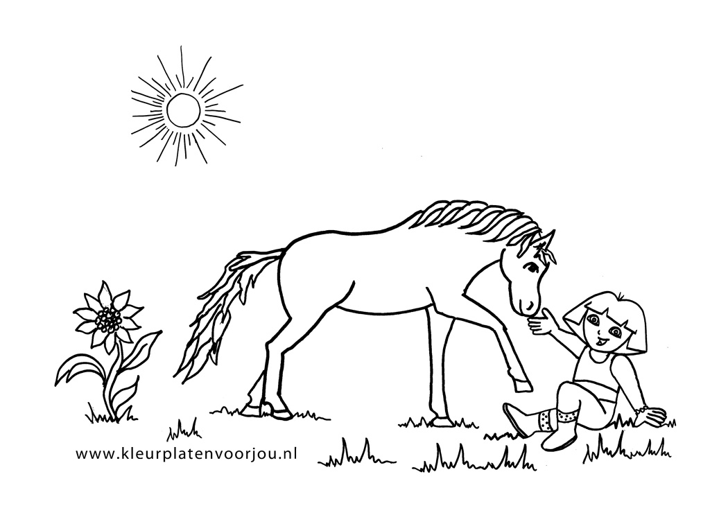 Dora Verzorgt Haar Paard Kleurplaten Voor Jou