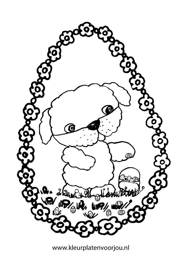 Kerst Kleurplaat Volwassenen Hondje Doet Paaseieren In Het Paasmandje Kleurplaten