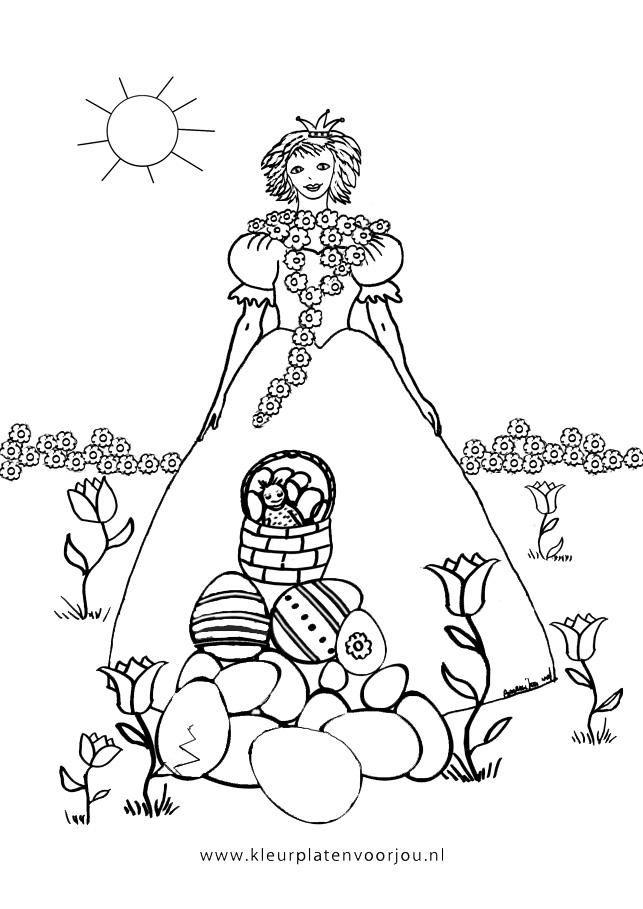 Afbeelding Vogel Kleurplaat Paas Prinses Met Paasmand Kleurplaat Kleurplaten Voor Jou