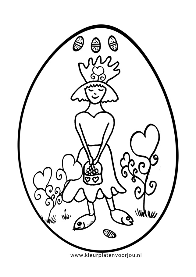 Paasei Met Prinses Kleurplaat Kleurplaten Voor Jou