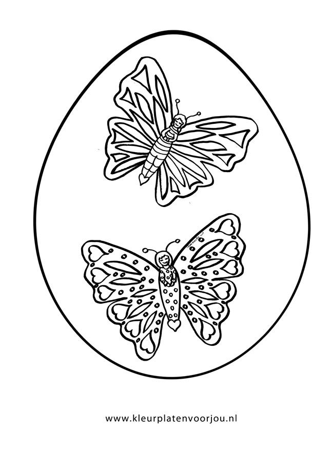 Paasei Met Twee Vlinders Kleurplaat Kleurplaten Voor Jou
