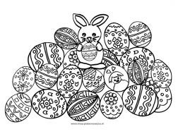 Paashaas met eieren kleurplaat
