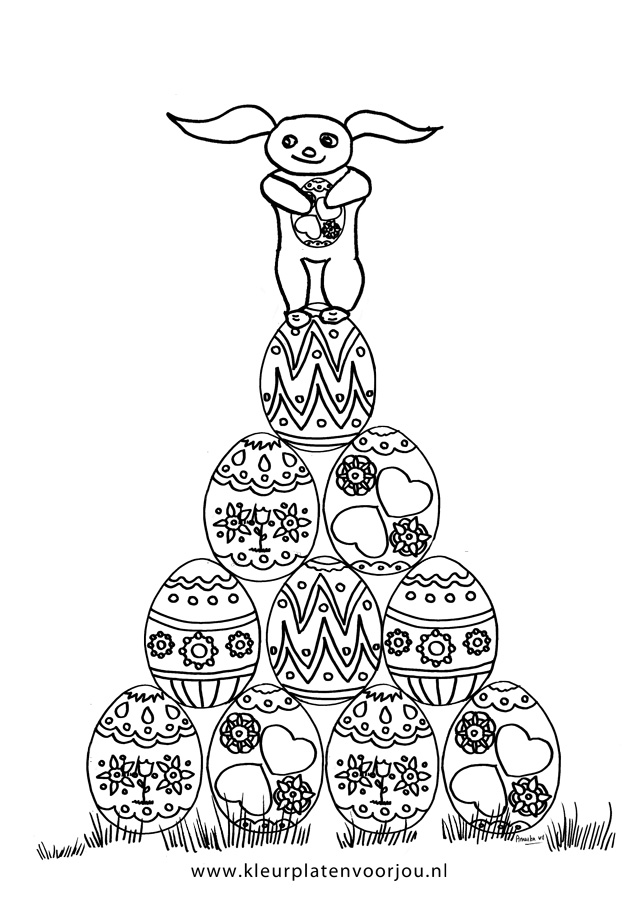 Kleurplaten Pasen Eieren.Paashaas Staat Op Eieren Kleurplaat Kleurplaten Voor Jou