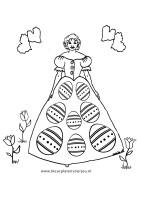 Kleurplaat Koningin met paasjurk