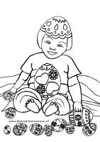 Prinses met paaseieren kleurplaat