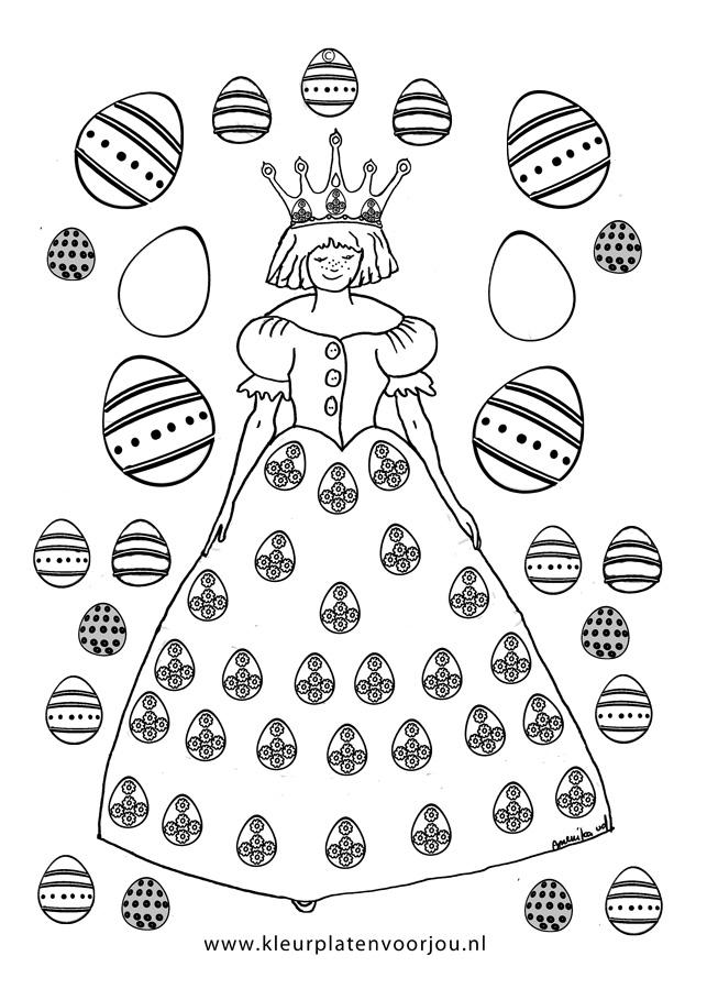 Prinses Met Paaseieren Kleurplaat Kleurplaten Voor Jou