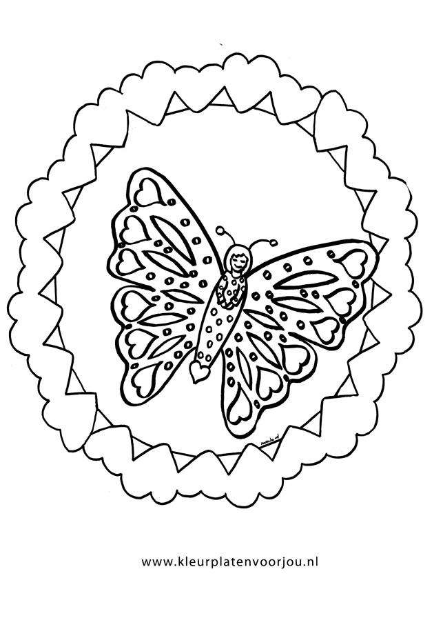 Hartjes Met Vlinder Kleurplaat Kleurplaten Voor Jou