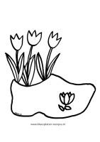 Kleurplaat moederdag drie tulpen in een klomp