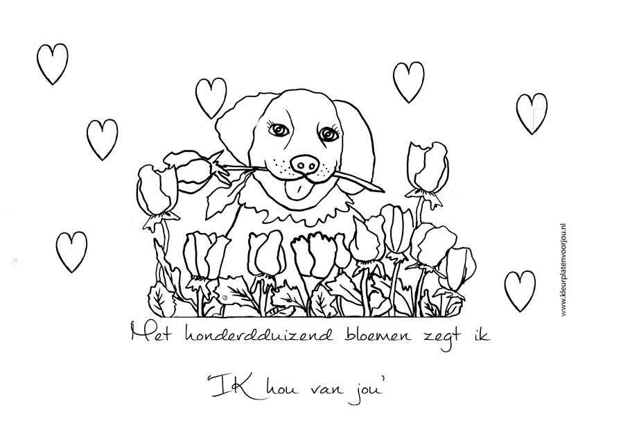 Volwassen Kleurplaten Honden Met Honderdduizend Bloemen Zegt Ik Hou Van Jou Kleurplaat