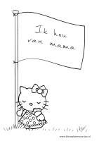 Moederdag kleurplaten Hello Kitty