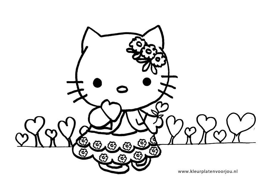 Kleurplaten Hello Kitty Met Hartjes.Hello Kitty Verjaardag Kleurplaten Met Hartjes Kleurplaten