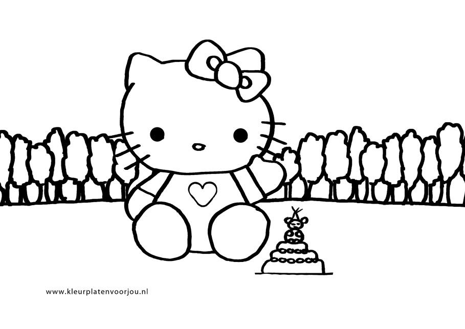 Verjaardags Kleurplaat Maken Hello Kitty Verjaardags Kleurplaat Taart Kleurplaten