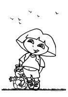 Dora en Boots Kleurplaten Voetballen