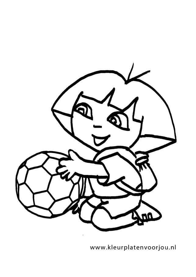 Kleurplaat Voetbal Dora Kleurplaten Voor Jou