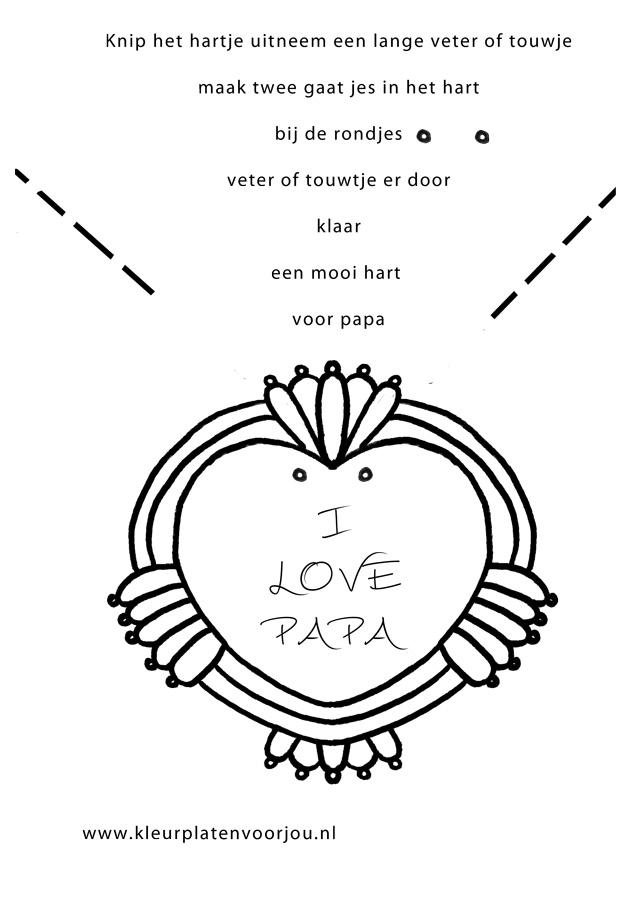 Tekeningen Kleurplaten Dieren Kleurplaat Vaderdag Hartje Kleurplaten Voor Jou