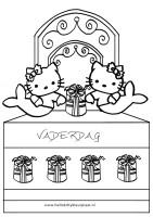 Kleurplaten vaderdag Hello Kitty