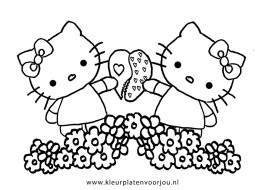 Hello Kitty en Mimmi delen een hartje kleurplaten