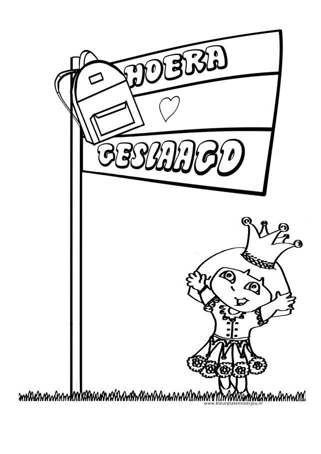 Verjaardag Juf Kleurplaat Dora Is Geslaagd Kleurplaat Kleurplaten Voor Jou