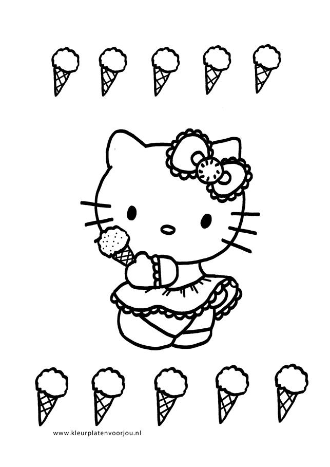 Kleurplaten Van Hello Kitty Verjaardag.Hello Kitty Kleurplaat Ijsje Kleurplaten Voor Jou