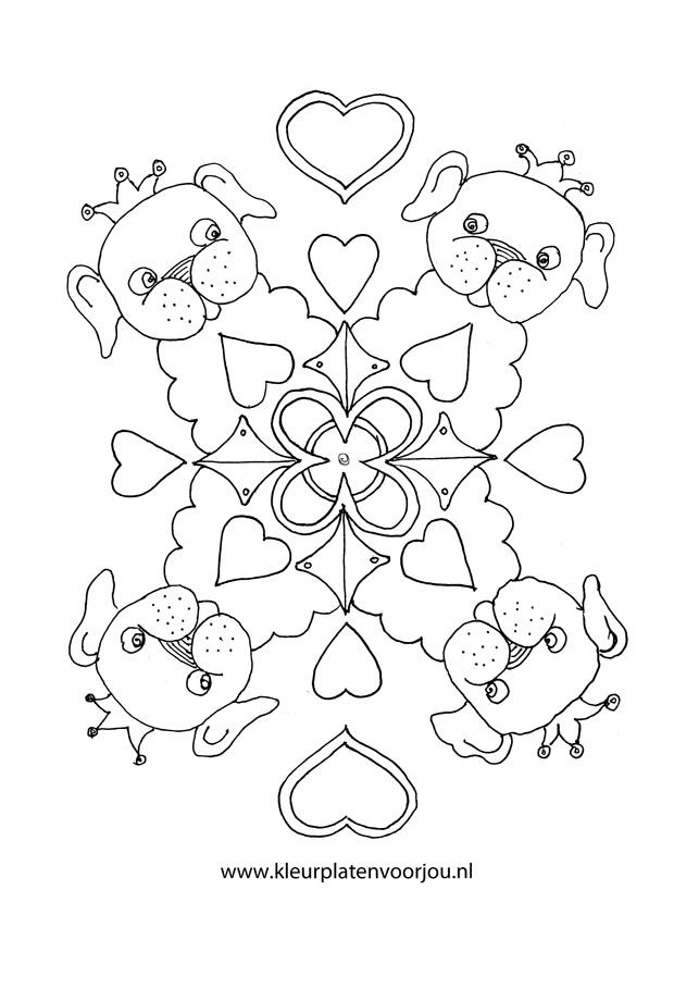 Hondje Met Kroon Mandala Hartjes Kleurplaten Voor Jou