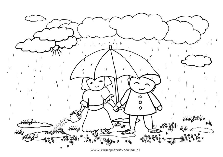 Onder Moeders Paraplu Kleurplaat Kleurplaten Voor Jou