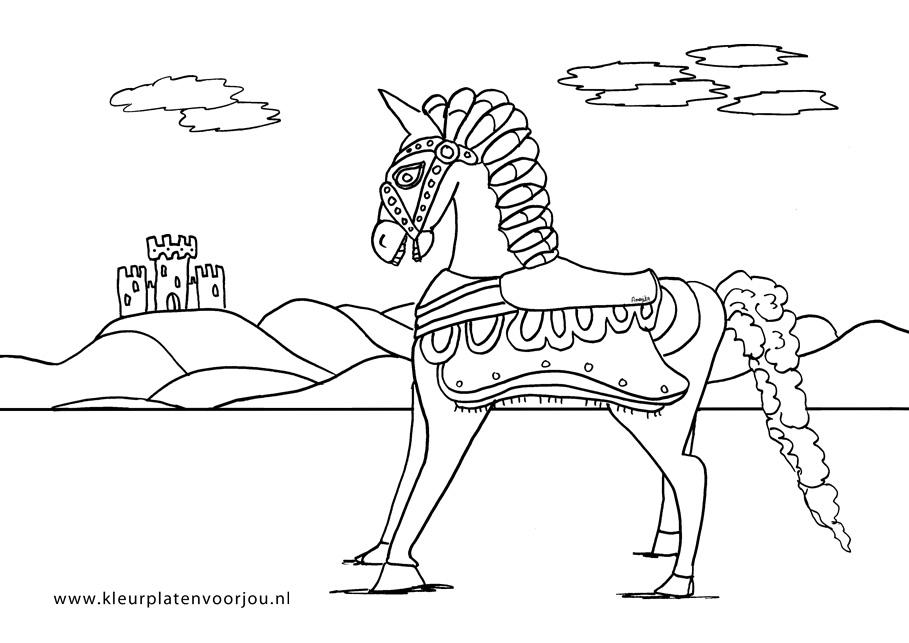 Paard Met Kasteel Kleurplaat - Kleurplaten voor jou