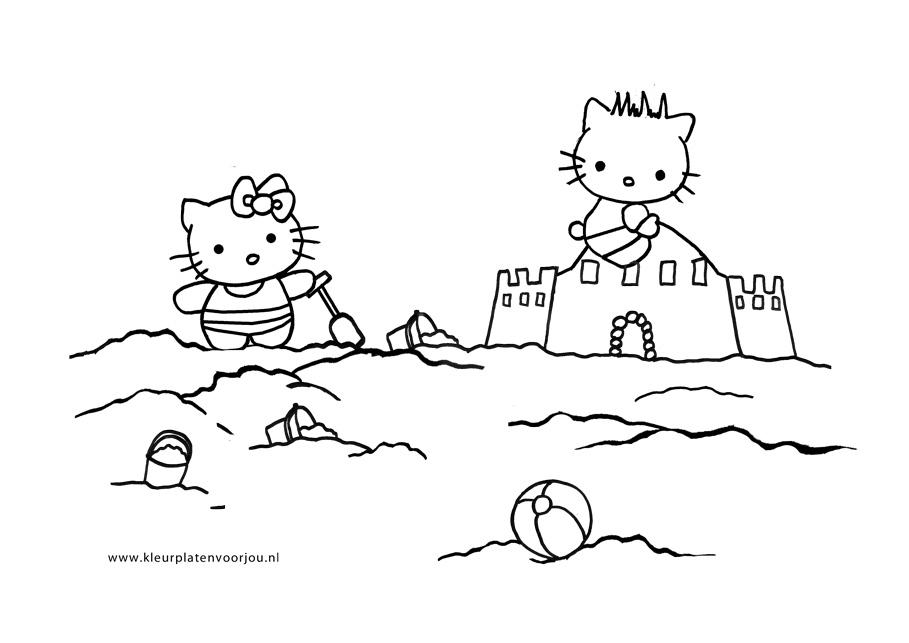 Strand Kleurplaat Zandkasteel Hello Kitty Kleurplaten Voor Jou